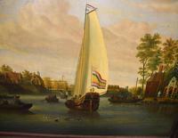 Pair Antique Dutch Oil Paintings Boat Scenes Riverscape 1860 (4 of 12)