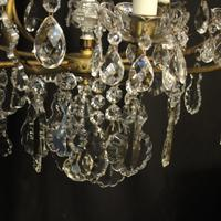 French Gilded & Crystal Birdcage 7 Light Antique Chandelier (6 of 10)