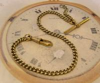 Antique Pocket Watch Chain 1890s Victorian Brass Albert With Swivel T Bar (2 of 10)