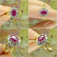 Vintage 18ct gold oval ruby & diamond cluster ring ~ Valentine proposal (8 of 10)