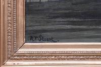 R T Stuart c1870 French Barbizon School Landscape Oil Painting (7 of 8)