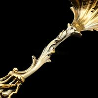 Victorian Silver Gilt Sugar Sifter Spoon 'diana The Huntress' Figure - Francis Higgins 1854 (10 of 23)