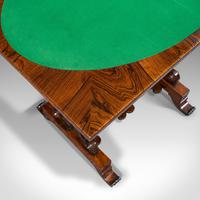 Antique Fold Over Games Table, English, Rosewood, Chess, Cards, Regency c.1820 (9 of 12)