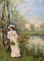 'R.M Stewart' Original Lovely 19thc Elegant Lady Oil Portrait Painting '1886' (6 of 11)