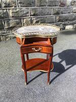 Antique Marble Top Mahogany Kidney Shaped Table (4 of 8)