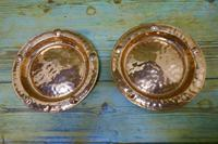 Pair of Arts & Crafts Beaten Copper Wall Plates by Lombard (3 of 5)