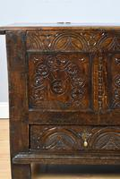17th Century Oak Carved Coffer with Drawer (4 of 14)