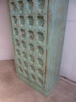 Handmade Indian Mango & Teak Large Painted Light Green 2 Door Storage Cupboard (3 of 11)