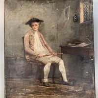 Antique Georgian oil painting portrait of gentleman The Flautist flute player (7 of 10)