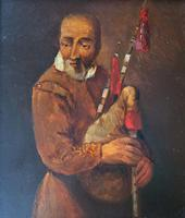 Original 18th Century Miniature Oil on Panel Portrait Painting of Bagpipe Player (4 of 11)