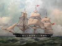 "Marine Oil Painting ""Windsor Castle"" Mail Steamer Ship Signed Dorothy Lightfoot (2 of 31)"