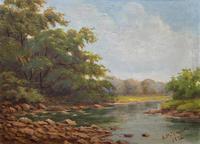 Beautiful Original 1921 Antique Riverscape Landscape Oil Painting (2 of 10)