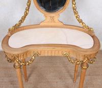 Neoclassical Marble Dressing Table Gilt Mirrored Vanity Satinwood (7 of 14)