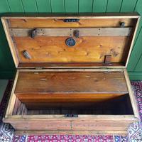 Antique Victorian Pine Chest Rustic Industrial Wooden Trunk + Key + Original Interior (7 of 12)