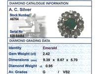2.42ct Emerald & 0.95ct Diamond, 18ct Yellow Gold Dress Ring - Antique c.1920 (5 of 9)