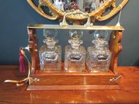 Late Victorian Polished Oak Three Bottle Tantalus