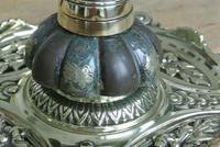 Fine English Victorian Brass Inkwell with Japanese Shakudo Inspired Pottery Ink Pot Reg Diamond for 1883 (3 of 10)