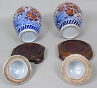 Good Pair of 19th Century Imari Porcelain Lidded Vases on Stands (10 of 10)