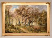 """Oil Painting Pair by F. Walters """"Spring on the Severn, Ringwood"""" """"Autumn, Ringwood"""" (2 of 10)"""
