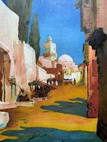 Augusta Coles Moroccan Cityscape Oil Painting Mahogany Fire Screen c.1911 (3 of 16)
