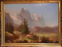 Swiss Alpine scene oil painting (6 of 8)