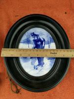 Rare Antique Royal Doulton Blue & White Mother & Girl Framed Oval Plaque C1910 (2 of 12)