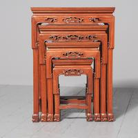 Antique Nest of 4 Padouk Chinese Occasional Tables (3 of 9)