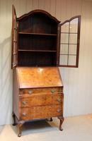 Burr Walnut Queen Anne Bureau Bookcase (10 of 11)