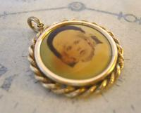 Edwardian Pocket Watch Chain Photograph Fob 1900s Antique Gilt Sepia Fob (3 of 8)