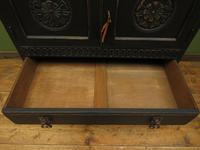 Antique Black Painted Oak Tall Boy Cabinet with Drawers, Gothic shabby chic (7 of 11)