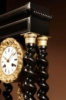 Original Ebonised & Brass Inlaid French Portico Clock c.1870 (3 of 7)