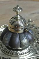 Fine English Victorian Brass Inkwell with Japanese Shakudo Inspired Pottery Ink Pot Reg Diamond for 1883 (4 of 10)