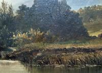 Lovely Original Mid 19th Century Antique British Castle River Landscape Oil Painting (4 of 11)