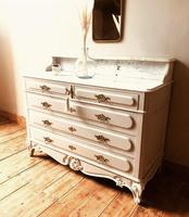 Antique Style Chest of Drawers with Marble Gallery / Grey Drawers (7 of 7)