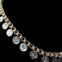 Antique Victorian Aesthetic Coin 18ct Yellow Gold on Sterling Silver Chain Collar Necklace (3 of 12)
