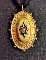 Victorian 9ct Gold Blue Enamel Pendant, Seed Pearl Star (8 of 10)