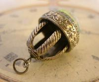 Vintage Pocket Watch Chain Fob 1950s Large Silver Nickel Victorian Revival Fob (4 of 8)