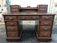 Antique Oak Pedestal Writing Desk (Pri) (6 of 13)