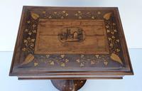 Rare 19th Century Marquetry Inlaid Irish Killarney Work Box or Table (6 of 13)
