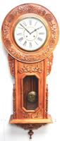 Massive Rare Antique Carved Walnut 8-Day Drop Dial Striking Wall Clock (7 of 14)