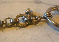 Pocket Watch Chain 1930s German Art Deco Silver Chrome & Goldstone Albert Nos (11 of 12)