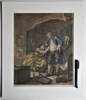 William Hogarth, Pair of Original Prints, Later Hand Colour, Before and After Engraved 1736 (7 of 10)
