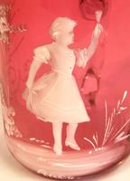 Antique Victorian Mary Gregory Cranberry Glass Mug (2 of 6)