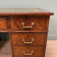 Quality Oak Victorian Antique Pedestal Desk (5 of 8)