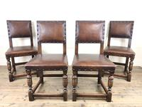 Set of 4 Early 20th Century Leather Dining Chairs (3 of 10)