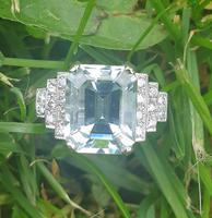 Platinum Pale Aquamarine & Diamond Ring (8 of 8)