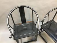 Pair Chinese ebonised horseshoe chairs (3 of 11)