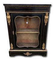 19th C French Ebonised Pier Cabinet With Ormolu Mounts