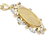0.16ct Sapphire and 0.40ct Diamond, 18ct Yellow Gold and 22ct Gold Coin Pendant / Brooch - Antique French c.1890 (2 of 9)