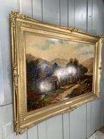 Antique Victorian large landscape oil painting in gilt gesso frame by E Yates (5 of 10)